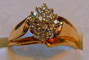 Diamond Cluster Pave Solid Gold Ring 10K Size 6.75