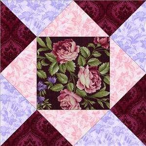 Pink Burgundy Violet Floral Rose Pre cut Quilt Kit Fabric Tri