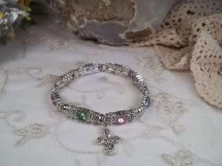 Multi Color Rhinestone Stretch Bracelet Cross Charm