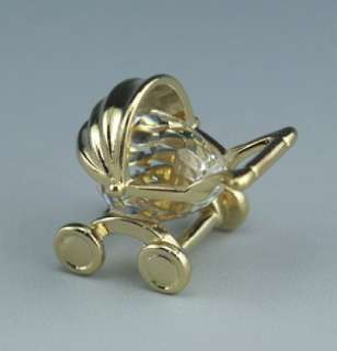 Box Star Collection Austrian Crystal 22k Gold Doll Carriage Figurine