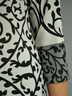 Elegant Black White 3/4 Sleeve Wide Neck Swirl Print DRESS L*