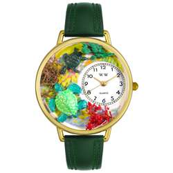 Whimsical Womens Turtles Theme Hunter Green Leather Watch