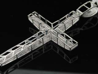 MENS WHITE GOLD FINISH 1.90 CT DIAMOND PAVE CROSS CHARM