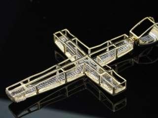 MENS YELLOW GOLD 1.2CT DIAMOND PAVE CROSS CHARM PENDANT