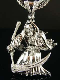 14K GRIM REAPER SKULL WHITE GOLD DEATH DIAMOND PENDANT