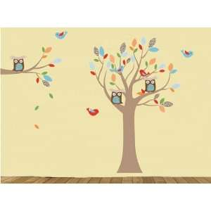 Tree Branch Set Vinyl Wall Decal with Birds Owls and Pattern Leaves