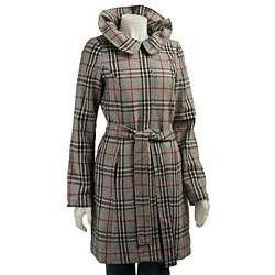 Matty M Womens Ruffle Collar Plaid Coat