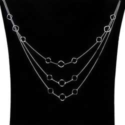 Sterling Silver 22 inch Three tier Geometric Trend Bib Necklace