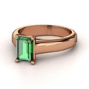 Cut Solitaire Ring, Emerald Cut Emerald 18K Rose Gold Ring Jewelry