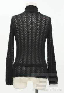 Cashmere Pointelle Knit Collared Cardigan Sweater Sz Medium