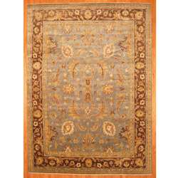 Indo Hand knotted Light Blue/ Brown Oushak Wool Rug (10 x 14