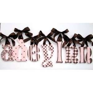 Pink & Brown Patterned Glitter Wall Letters Baby