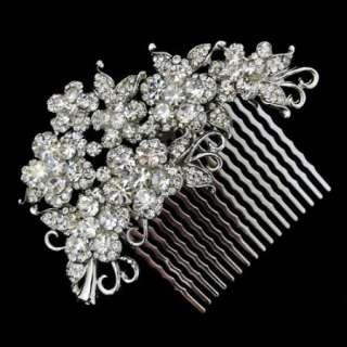 Flower Hair Comb Tiara Clear Bridal Swarovski Crystal