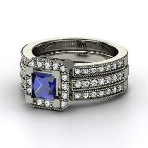 Va Voom Ring, Princess Sapphire 18K White Gold Ring with Diamond