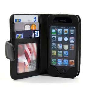 Deluxe Folio Wallet Genuine Leather Case for iPhone 4 iPhone
