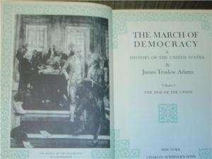 THE MARCH OF DEMOCRACY James Truslow Adams 5 Volume Set
