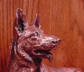 Copper GERMAN SHEPHERD DOG LYING DOWN Figurine Statue