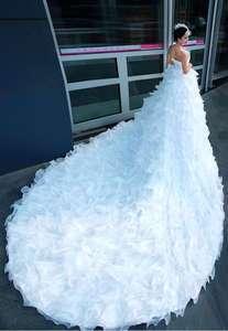 CUSTOM sleeveless white/ivory organza empire line wedding bridal dress