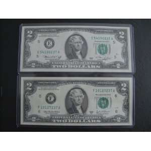 Lot of 2 New Uncirculated $2 Two Dollar Bill Note Set Series 1976 2003