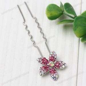 1pc Fuschia AB White Crystal Rhinestone Flower Hair Pin Wedding Party