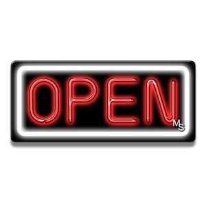 Neon Open Sign   White Border & Red Letters: Office Products