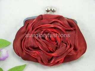 Charming Red/Burgundy Rose Satin Wedding Purse Clutch FEC 098156