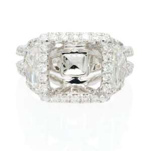 Diamond Antique Style 18k White Gold Engagement Ring Setting Jewelry
