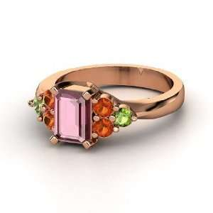Apex Ring, Emerald Cut Rhodolite Garnet 14K Rose Gold Ring
