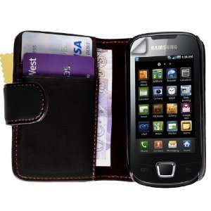samsung galaxy apollo leather wallet case cover for i5800 wit