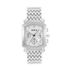 Geneve Mens Stainless Steel Chronograph Watch