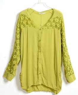 Chiffon Shirt Loose Lace Blouse Long Sleeve Tops Button Shirts