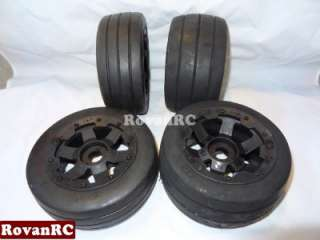 road RACING SLICK Tires, mounted 6 spoke wheels fits HPI Baja 5B Buggy