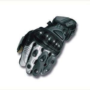 Racer High End Leather Gloves   X Large/Silver Automotive