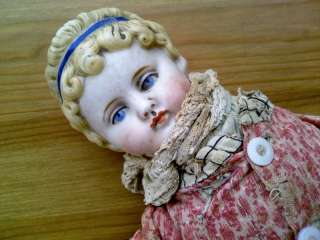 Adorable Antique Color Bisque Head Doll with Cloth Dress & Body