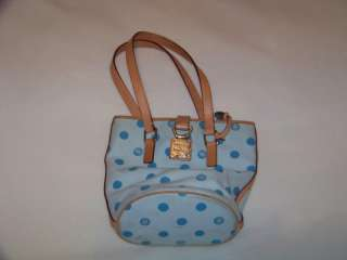 Dooney And Bourke Blue Polka Dot Leather Khaki Hand Bag Purse Handbag
