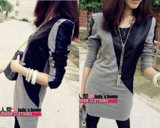 Womens O neck Long sleeve Faux Leather Splicing Long Top T shirt Mini