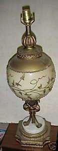 Elegant Fancy Gold Glass Urn Metal Base Table Lamp