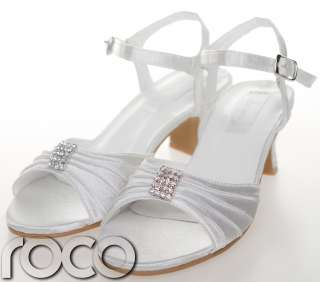 Girls White Kitten Heel Shoes Wedding Bridesmaid Prom Shoes Infant 8