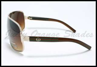 Mens SHIELD CELEBRITY Stylish Designer Sunglasses GOLD BROWN
