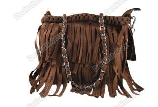 Fashion Celebrity Suede Fringe Tassel Shoulder Bag Womens Handbag