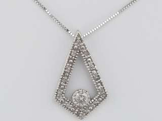Pretty Solid White Gold Diamond Emblem Necklace Ladies Pendant