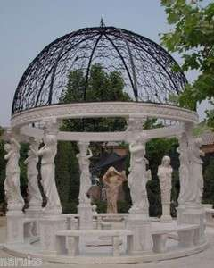 WORLD CLASS FIGURAL CARVED SOLID MARBLE GAZEBO GZ12