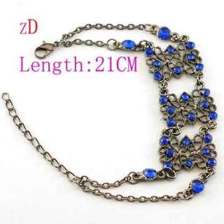 H2371 Unique Blue Silver Plate Gemstone Link Bracelet