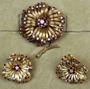 MAGNIFICENT 1950 FRENCH GOLD RUBY, DI, EARRINGS, BROOCH