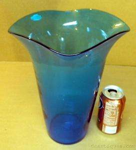Vintage BLENKO Handcrafted Art Glass Sapphire Blue Vase