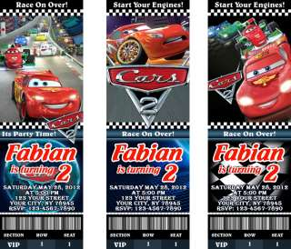 Cars 2 Birthday Party Personalized Ticket Invitations
