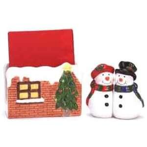 Snowman Salt and Pepper, Brick House Napkin Holder
