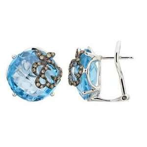 14K White Gold Blue Topaz Diamond Earrings (Brown color) Jewelry