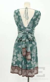 BCBG Max Azria Teal & Brown Silk Print Sleeveless Dress Size 2