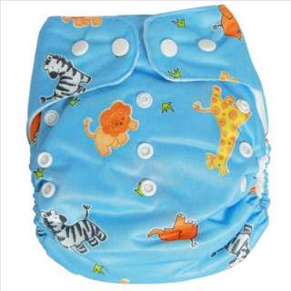 BABY CLOTH DIAPER NAPPY animal print + Insert 601 Blue